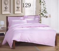 Wholesale King Size Comforter Set Purple - Hotel   family   hotel Solid color 16 color Satin stripe 4pcs bedding set twin queen king size duvet cover set bedclothes bed sheet