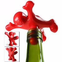 mutlu adam şarap tıpa toptan satış-Toptan Yeni Yenilik Bar Araçları Şarap Mantar Şişe Tak Komik Mutlu Adam Guy Şarap Stoper Perky Ilginç Hediyeler DH011