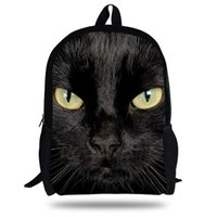 Wholesale Mochila Zoo - 16-inch Black Cat Backpack Animal Bags Women Children School Bags Girls Teenager Mochila ZOO Animals print Bag boys Backpack