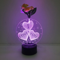 3D Love Heart Illusion Lamp Night Light avec Flower DC 5V USB Chargeur AA Battery Wholesale Dropshipping Expédition gratuite Retail Box