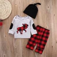 Wholesale Top Boutique Wholesale - Christmas Baby clothes Newborn Toddlers Clothing Set Infant boutique Tracksuit for Sport Long Sleeve Tiger Tops Plaid Pants 2PCS Outfit Next