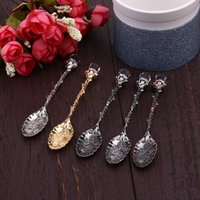 Wholesale dining spoons - Kitchen Dining Bar Vintage Royal Alloy Spoon Tea Coffee Spoon Flatware Cutlery Mini Dessert Spoons For Snacks Tableware