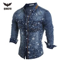 Wholesale Wholesale Hawaiian Shirts - Wholesale- Hot Sell Men Shirt Luxury Brand 2016 Male Long Sleeve Shirts Casual Mens Denim printing Slim Fit Dress Shirts Mens Hawaiian 2XL