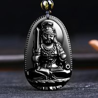 Wholesale Carved Buddha Jewelry - High Quality Unique Natural Black Obsidian Carved Buddha Lucky Amulet Pendant Necklace For Women Men pendants Jewelry