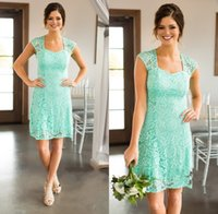 Wholesale short formal dresses turquoise - Bridesmaid Dresses 2017 New Country Short For Weddings Full Lace Cap Sleeves Open Back Turquoise Mint Plus Size Formal Maid of Honor Gowns