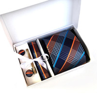 Wholesale Leisure Wear For Men - 2017 New Brand Striped Men Neck Ties Clip Hanky Cufflinks sets Formal Wear Business Wedding Party Plaid Tie for Mens cravat K03