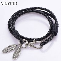 Wholesale Feather Wristband - Wholesale- NIUYITID Black PU Leather Men Bracelet Silver Feather Accessories Fashion Jewelry Man Bracelet For Wristband Male Charm