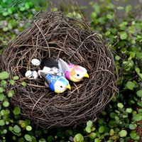 7Pcs / Set Mini Bird Nest Eggs Résine Craft Miniature Landscape Artificial Animal Decor Accueil Décoration de bureau Figurine de terrarium