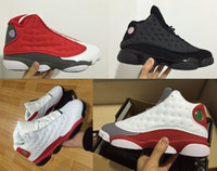 Wholesale Boots Size Mens - 2017 Mens Basketball Shoes Black Cat OG 13S White True Red Cement Grey Sneakers Outdoor Sports Boots Black Varsity Red Size US8-US13