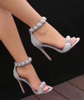bombas de dedo do pé abertas nu venda por atacado-Sexy Borgonha Rosa Nua Concise Sandálias Gladiador Mulheres Rihanna Com Tira No Tornozelo Bombas de Salto Alto Abertos Toe Faux Camurça Vestido OL Patchwork Sapatos