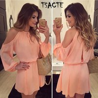 Wholesale Halter Chiffon Tunic Dress - Wholesale- New Style Summer Pink Dress Sexy Off Shoulder Long Sleeve Tunic Women Chiffon Dress Casual Vestido Round halter Special offer