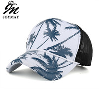 Wholesale Printed Shades - 2017 New Summer Sun hat Shading Cap coconut tree Printing Mesh Baseball Cap Free Shipping Bone Breathable Chapeu Casual B432