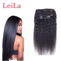 Wholesale clipped weave - Brazilian Human Hair Coarse Yaki Straight 7Pieces SET Kinky Straight Clip In Human Hair Extensions Natural Black Human Hair Weaves