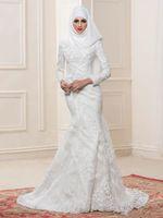 estilo musulmana de la sirena del vestido al por mayor-2019 vestidos de novia musulmanes blancos escote alto mangas largas vestidos de novia con abalorios apliques estilo sirena por encargo vestidos de novia