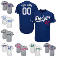 Wholesale Browning Camo - Men's Los Angeles Dodgers Customized Jersey Memorial Father's Mother's Day Camo Flex Base White Grey Cool Base Custom Baseball Jerseys S-4XL