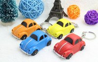 Wholesale Car Keychains Volkswagen - Lovely Cartoon Volkswagen Car Chain Ring with LED Light and Animal Sound Lovely Keychains Child Kid Toy gift