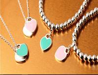 Wholesale Resin Heart Necklace - Love heart titanium steel necklaces love letters bracelets pink blue collarbone chain necklace two colors can choose