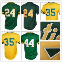 Wholesale Rickey Jackson - Men's 24 Rickey Henderson 35 Rickey Henderson Baseball Jersey Adult 44 Reggie Jackson Retro Jerseys Embroidery