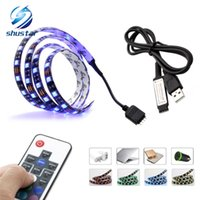Wholesale Led Rf Strip - TV PC Background LED Strip Lighting DC5V USB SMD5050 RGB 60LEDs m with 17Key RF Controller 50cm   1m   2m Set
