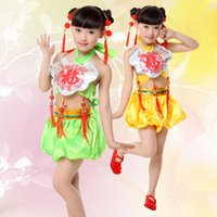 Wholesale Chinese Apparel Wholesalers - 2pcs Hot Children's National Performance Costume Dudou Chinese Knot Apparel Children's Clothing Dance Clothing Free Shopping