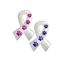 Wholesale Pet Dog Ribbon - 2 Color Dog Cat Paw Print Ribbon Pin Brooch Pins For Dog Lover Pet Lovers Animal Jewelry
