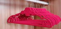 ladies dress suits hats Canada - 42cm Closet Velvet Hangers Rose Flower Non-slip Thin Magic Flocking Space Save Storage Racks for Women Lady Men Clothes Hanger