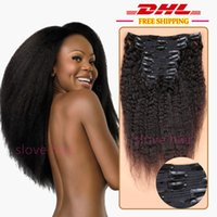 unverarbeitete italienische kinky gerade großhandel-8A Unverarbeitete Italienische Grobe Yaki Clip In Haarverlängerung Brasilianisches Reines Haar Verworrene Gerade Clip In Menschliches Haar Extensions