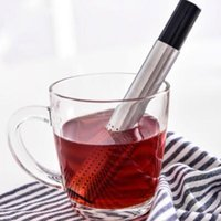 Wholesale Wholesale Coffee Sticks - Tea Strainer Stick Stainless Steel Pipe Design Mesh Tea Filter Portable Tea Infuser Coffee Teapot Drinkware Tools CCA6875 100pcs