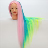 Wholesale Training Heads For Hairdressing - Colorful Mannequin Heads Synthetic Hair Training Mannequin Head For Makeup Hair weight 200g 70CM Mannequin Head For Hairdressing