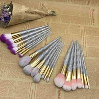 Wholesale Hair Hands Diamonds - 7PCS Makeup Brush Set Glitter Crystal Acrylic Hand Makeup Brushes Diamond Brush Beauty Cosmetic Tool for Eyes Foundation Powder 2805116