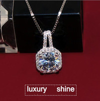 Wholesale 925 Sterling Silver Link Necklace - 925 sterling silver four square zircon diamond pendant chain of clavicle female fashion necklace 18k deserve to act the role of the necklace