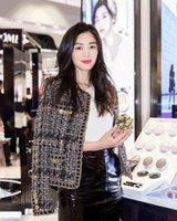 marca de casaco longo feminino venda por atacado-2018 novas mulheres marca de design de moda primavera outono manga longa o-pescoço cadeia de tweed casaco curto de lã estrela mesmo estilo casacos