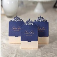 Wholesale Shaped Invitations - Navy Blue and Ivory Laser Cut invitations Sweet Love Wedding Candy Box Elegant Rhinestone Wed Favor Box Small Gift Box
