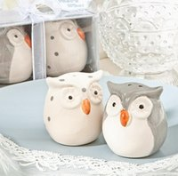 Wholesale owl baby shower party favors resale online - 120pcs sets Wedding Favors and Gifts Baby Shower Gray and White Color Owl Ceramic Salt and Pepper Shaker