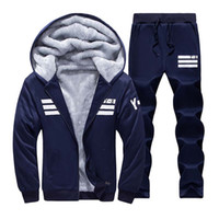 Wholesale Hoodies Sweat Pants - Wholesale-Men Sportswear Hoodie And Sweatshirts Autumn Winter Jogger Sporting Suit Mens Sweat Suits Brand Mens Tracksuits Set Jacket+Pants
