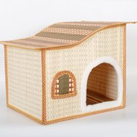 Wholesale Wholesale Outdoor Dog Kennel - Pets Articles Summer Bamboo Weaving Pets Nest House Kennel Plush Mat big warm Teddy plush pet bed dog cat houses