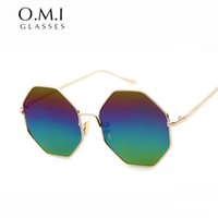 Wholesale Rainbow Sunglasses - Hexagon Sunglasses Women Brand 2017 Vintage Women Lady Street Snap Superstar Gold Frame Rainbow Lens Sun Glasses OM250