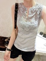 Wholesale Crochet Womens Vest - Wholesale-Hotsale! European and American 2015 Womens Summer Mesh Shell Sleeveless Vest Lace Crochet T-shirt Tops Casual Shirts