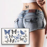Wholesale Body Art Glitter Stickers - Wholesale- Fashion Butterfly Tattoo Stickers Temporary Body Art Painting Stencils Stickers Waterproof Glitter Tattoos Stickers