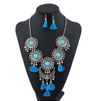 Wholesale Silver Multi Gem Necklace - Resin Long Tassel Jewelry Sets Women Fashion Silver Plated Behomia Gem Simple Maxi Multi Layer Flower Hollow Necklace Vintage Ethnic Style