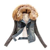 frau wollmantel großhandel-Großhandels- Winter-Frauen-Art- und Weisedenim-Knittes-lange Hülsen-Jacken-bewegliche Pelz-Kragen-Wollmantel-Bomber-Jacke Jean-weibliche grundlegende Mäntel
