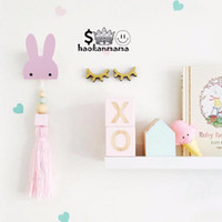 Wholesale Wooden Wall Hanging Hooks - 2017 Cartoon Animal Rabbits Decoration Children Kids Bedroom Decorative Wall Sticker Fashion Wooden Wall Hanging Hooks