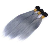 gri ombre örgü toptan satış-Sıcak Satış Ombre Gümüş Brezilyalı Bakire Saç 3 Adet Ombre Gri saç Örgü Düz Iki Ton 1B / Gri Ombre Brezilyalı İnsan Saç