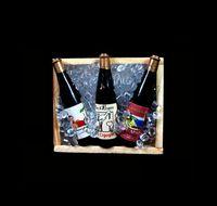 miniatur sammlerstück großhandel-Sammler 1/6 Skala Puppen Haus Dollhouse Miniatur vereist 3 Champagner Wein Bierflaschen auf Kiste Holzkiste Kühlschrankmagnet