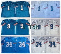 Wholesale White Campbell - Throwback Jersey Retired Player #1 Warren Moon Houston #34 Earl Campbell #9 Steve McNair Vintage White Blue Stitched Jerseys