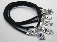 Wholesale Kabbalah Black Bracelet - 20 Mixed Kabbalah Hand Charms Black String Good Luck Bracelets
