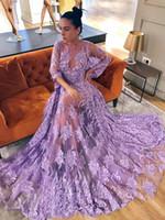 leichte lila kleider für frauen großhandel-Sexy Boho Abendkleider 3/4 langen Ärmeln Light Purple Floral Appliques Tulle Beach Damen Kleid bodenlangen Illusion Prom Kleider