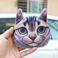 Wholesale Cheap Dog Bags - Wholesale- Women change purses 2016 mini kawaii purse 3D printing animal coin bag cats dogs big face cheap purses for girls free shipping