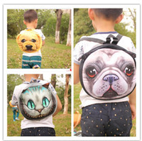 Wholesale Cartoon Boy Girl Hard - 3D Cute Cat Dog Face Backpacks Cat Dog Animal Pattern Kids Bags Coin Purse 10 Styles LJJO3325