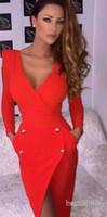 Wholesale women tight collar - Deep V collar Slim skirt New pattern Trend Double-breasted Deep V collar Backless Long sleeve Irregular hem Split tight dress Mixed order